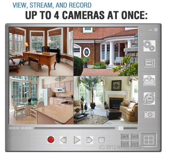 Quad View Internet Streaming Nanny Camera